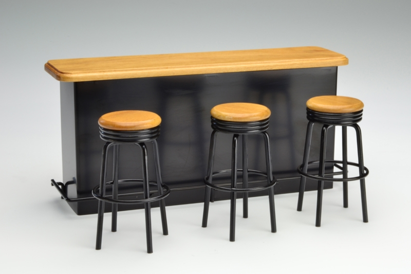 bartheke mit drei barhockern 32 90. Black Bedroom Furniture Sets. Home Design Ideas