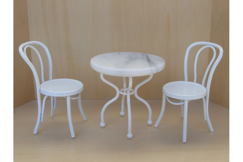 Kaffeehaustisch set wei 1 12 22 20 for Kaffeehaustisch marmorplatte