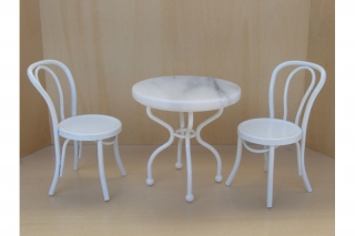 Kaffeehaustisch set wei 1 12 20 90 for Kaffeehaustisch marmorplatte